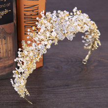 Wedding Crown Headband Tiaras For Women Pearl Rhinestone Flower Bride Tiaras Crowns King Wedding Hair Accessories jewelry(China)