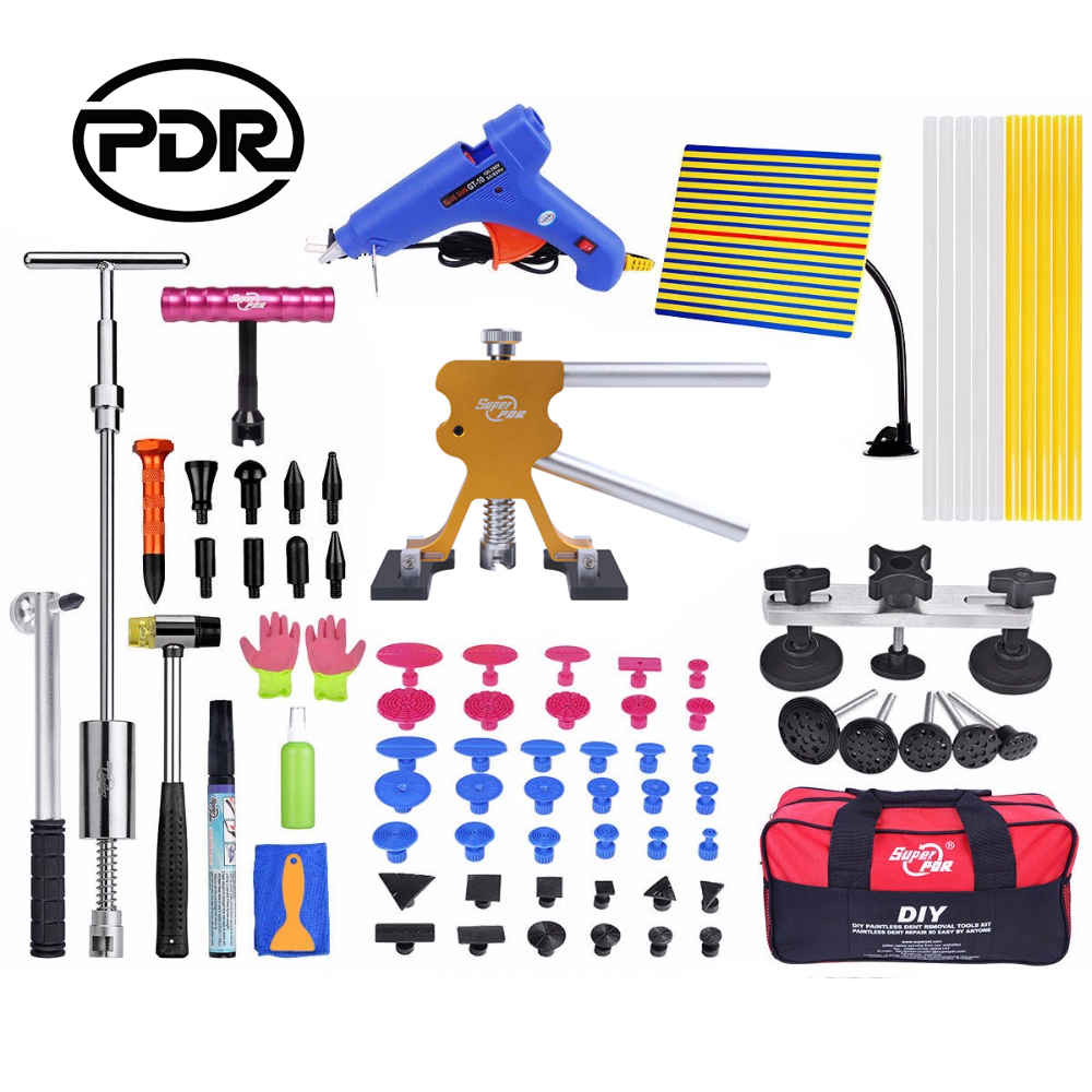 PDR Tools Kit Dent Puller Reflector Board Glue Dent Removal Car Dent Repair Hail Damage Repair Paintless Dent Repair Tool Sets hail damage repair kit removal of hail dents and door ding professional pdr rod paintless dent remover tools kit b7911c123456