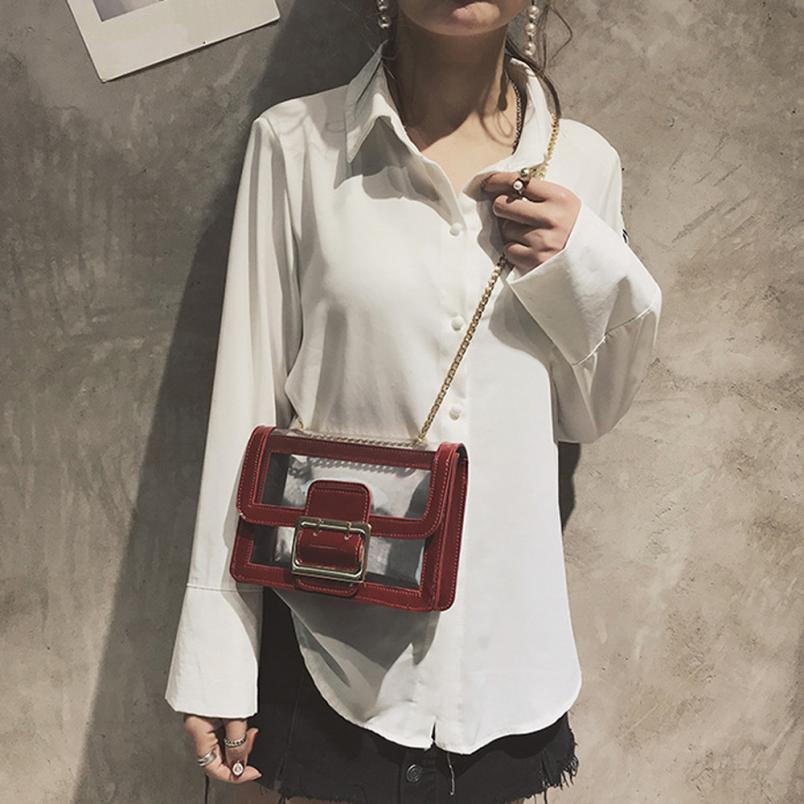 Модная женская пляжная сумка Прозрачная водонепроницаемая сумка через плечо сумка женская сплошной цвет пряжки Сумочка # F