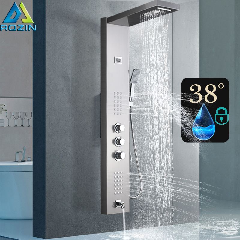 Thermostatic Shower Mixer Panel Brushed Nickel Rain Waterfall Shower Column Tower with Massage Jet Shower Faucet Tap brushed nickel shower panel wall mount waterfall rain shower mixer faucet stainless steel spa massage sprayer shower column tap