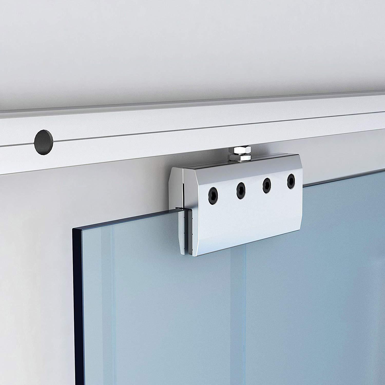 4.9FT/6FT/6.6FT Aluminium alloy frameless brushed glass shower sliding barn door hardware Track kit 4