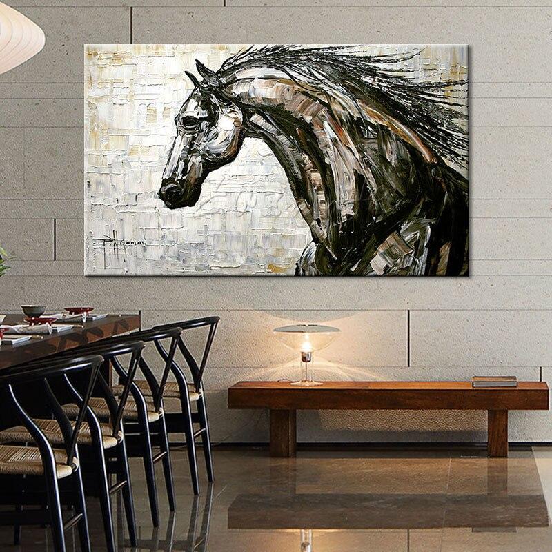 Лошадь маслом на холсте настенные панно Картины для Гостиная стены Книги по искусству холст plattle нож Современные Аннотация ручная роспись