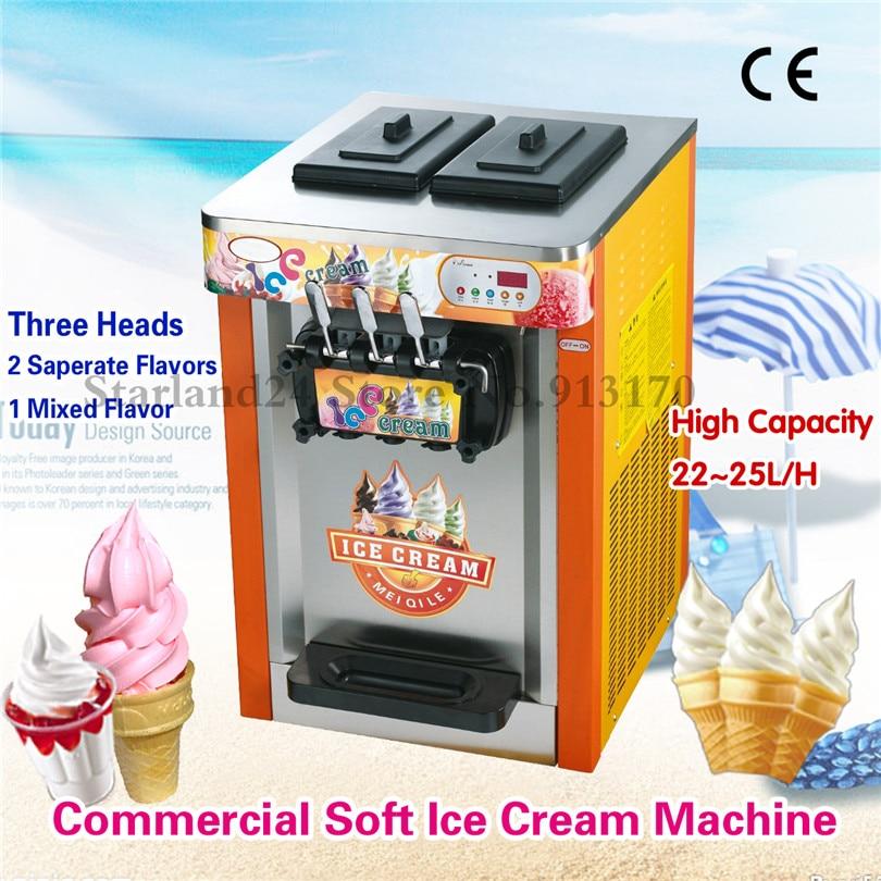 Commerciële Ijs Machine 3 Heads Desktop Kleurrijke Rvs Soft Ijsmachine 22 ~ 25 Liter/H 220 V