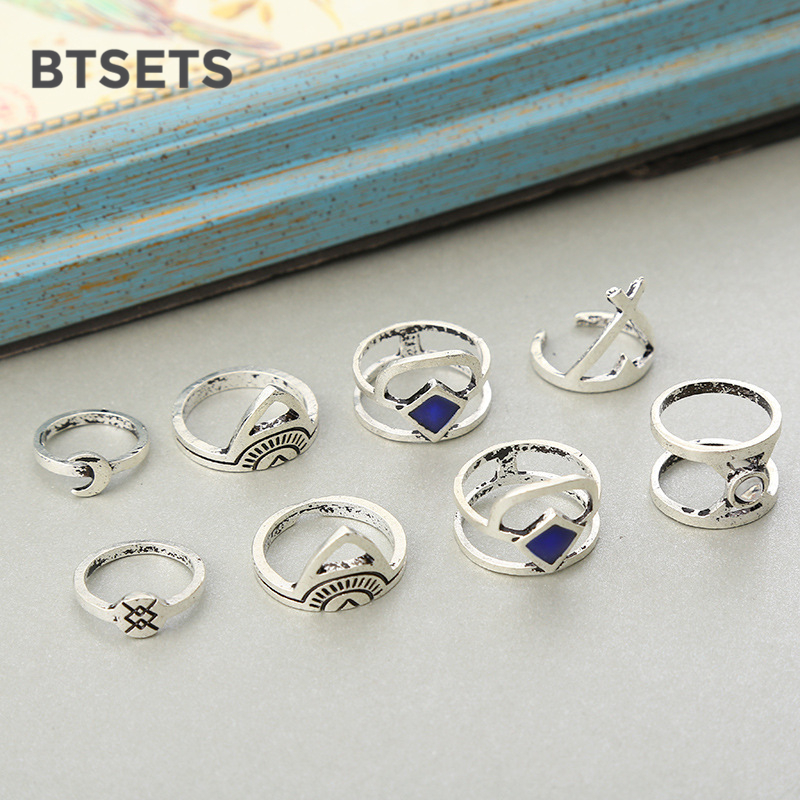 BTSETS Vintage Bridal Wedding Toe Finger Ring Set Anillos Geometric Moon Silver Color Knuckle Rings For Women 8PCS/Set Jewelry