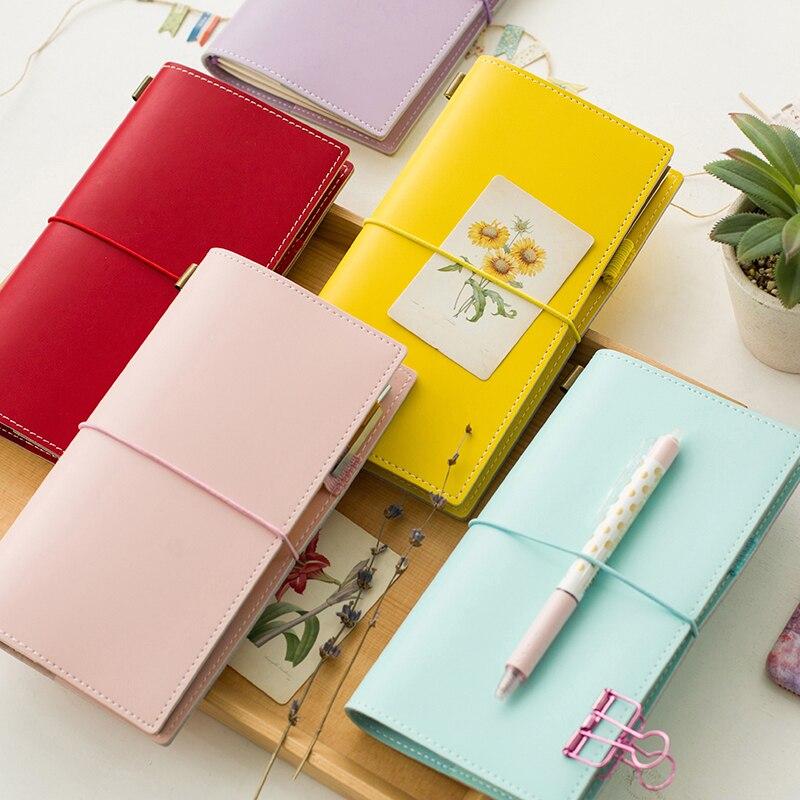 Heißer Vintage Makronen Reisende Notebook Echtes Recyceltes Leder Schule Persönliche Milch Notebook Agenda Planer Travel Journal