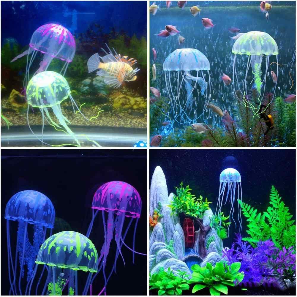ว่ายน้ำประดิษฐ์แมงกะพรุนเรืองแสง Aquarium ตกแต่งถังปลาใต้น้ำ Live Plant เครื่องประดับส่องสว่างน้ำภูมิทัศน์