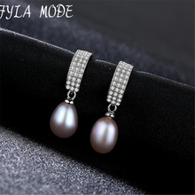 Fyla Mode Fashion Pearl Earrings 925 Sterling Silver 8-9mm White Pink Purple Freshwater Natural Personality And Elegant