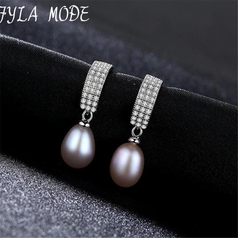 Fyla Mode De Mode Perle Boucles D'oreilles 925 Sterling Argent 8-9mm Blanc Rose Pourpre D'eau Douce Naturelle Perle Personnalité Et élégant