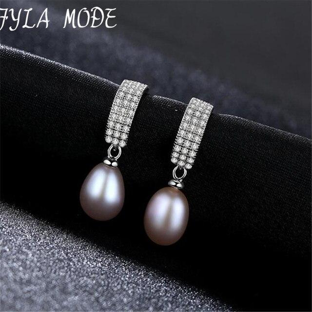 Modalità Fyla Moda Orecchini di Perle 925 Sterling Silver 8-9mm Bianco Rosa Viola D'acqua Dolce Naturale Perla Personalità E elegante