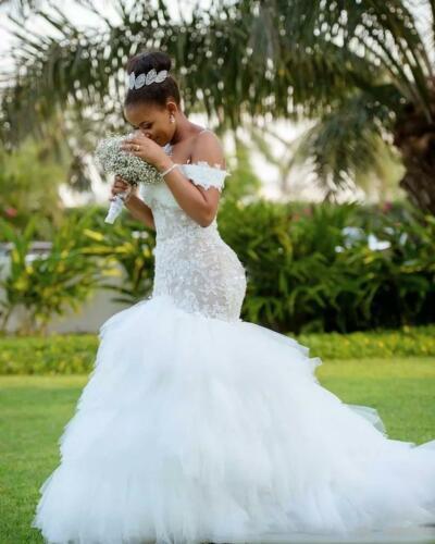 Abiti da sposa 2020 Africano Off Spalla Dellannata Della Sirena Del Merletto Abiti Da Sposa Abito vestido de noiva