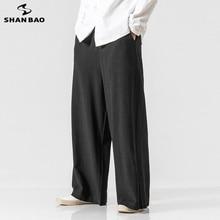 SHANBAO, японский стиль, для мужчин и женщин, можно носить, удобные, свободные, расклешенные штаны,, стиль, высокое качество, льняные, Харлан, повседневные штаны