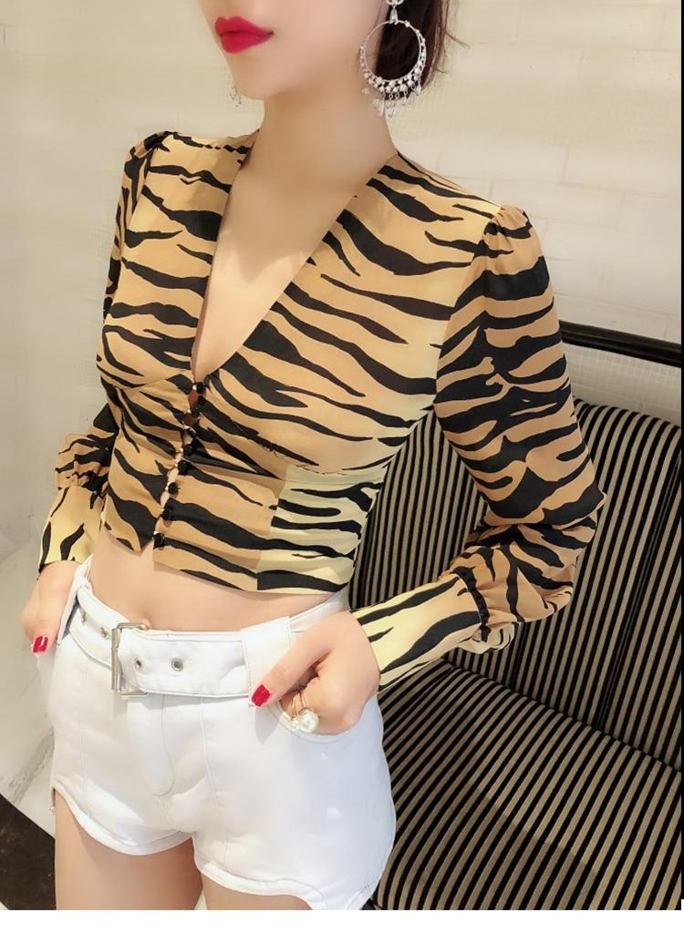 Longues De 100 Picture As Femmes V Col Chemise Motif Manches Fit Lanterne Mode Slim Show Tigre Bouton Soie 5wrxwq48R