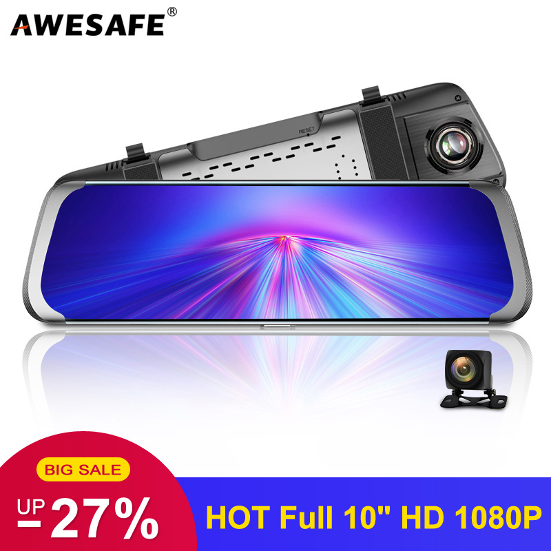 AWESAFE 10 Inch Touch Screen Full HD 1080P Car Dvr Stream RearView Mirror Dash Camera Dual