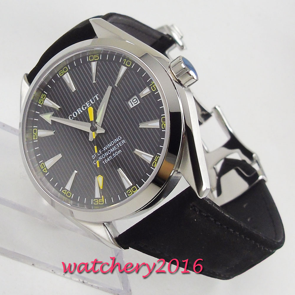 41mm Corgeut Black Dial Date Window Sapphire Glass Miyota Automatic Movement men s Watch