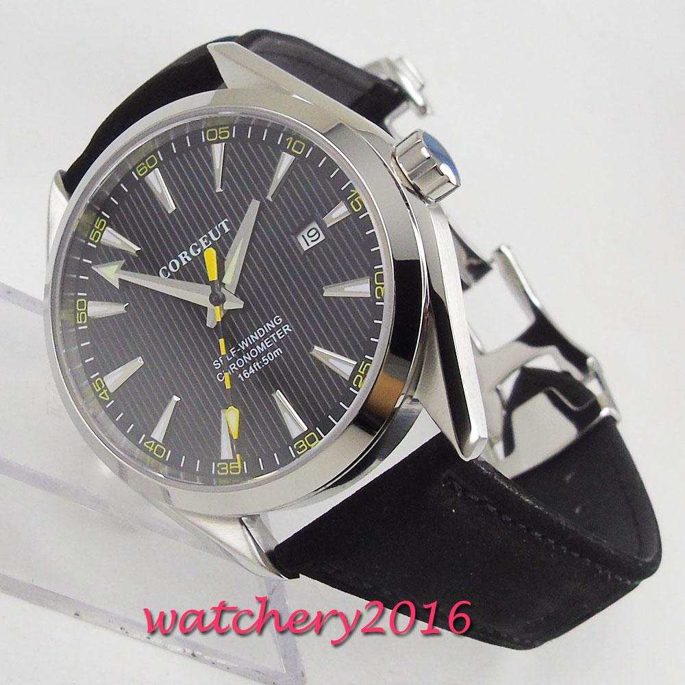 41mm Corgeut Black Dial Date Window Sapphire Glass Miyota Automatic Movement men s Watch