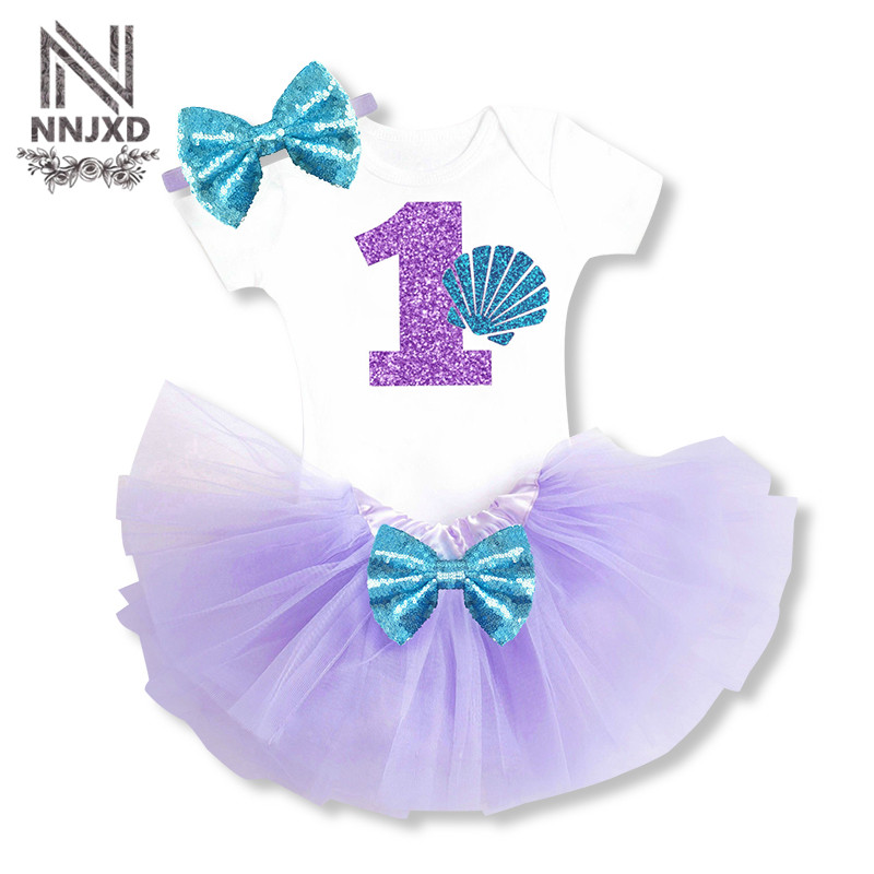 Little Mermaid Princess Girl Halloween Costume Newborn Baby Girl Clothing Set Toddler Girl Party Wear 1st Birthday Outfits Sets