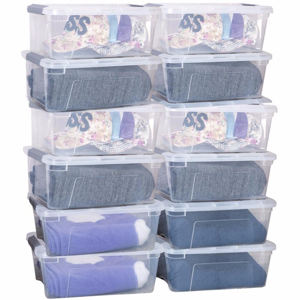 Goplus 12 Pack 156 Quart 144 litre loquet pile boîte de rangement bacs loquets poignées tout nouveau fourre-tout de rangement en plastique HW57062