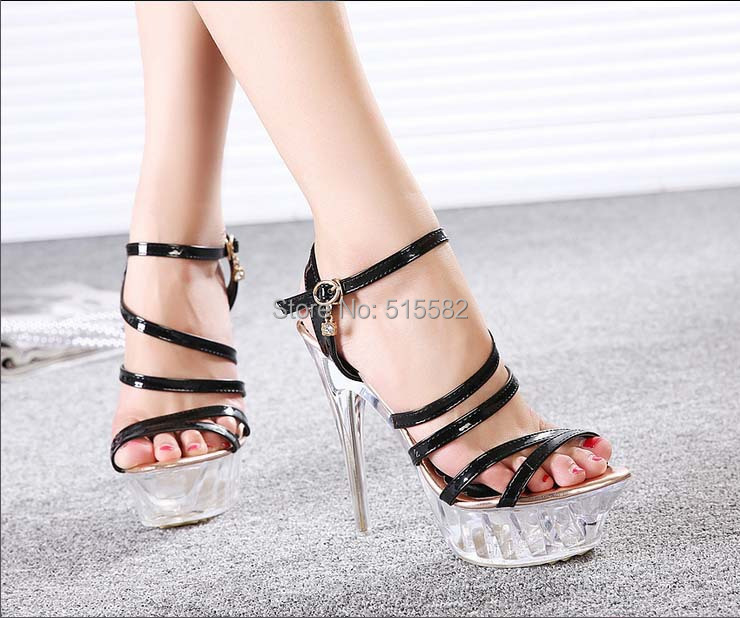 2018 woman gladiator high heels sandals transparent platform buckle party crystal dance shoes summer ladies plus large size35-43 2017 summer gold gladiator sandals platform wedges creepers casual buckle shoes woman sexy fashion high heels