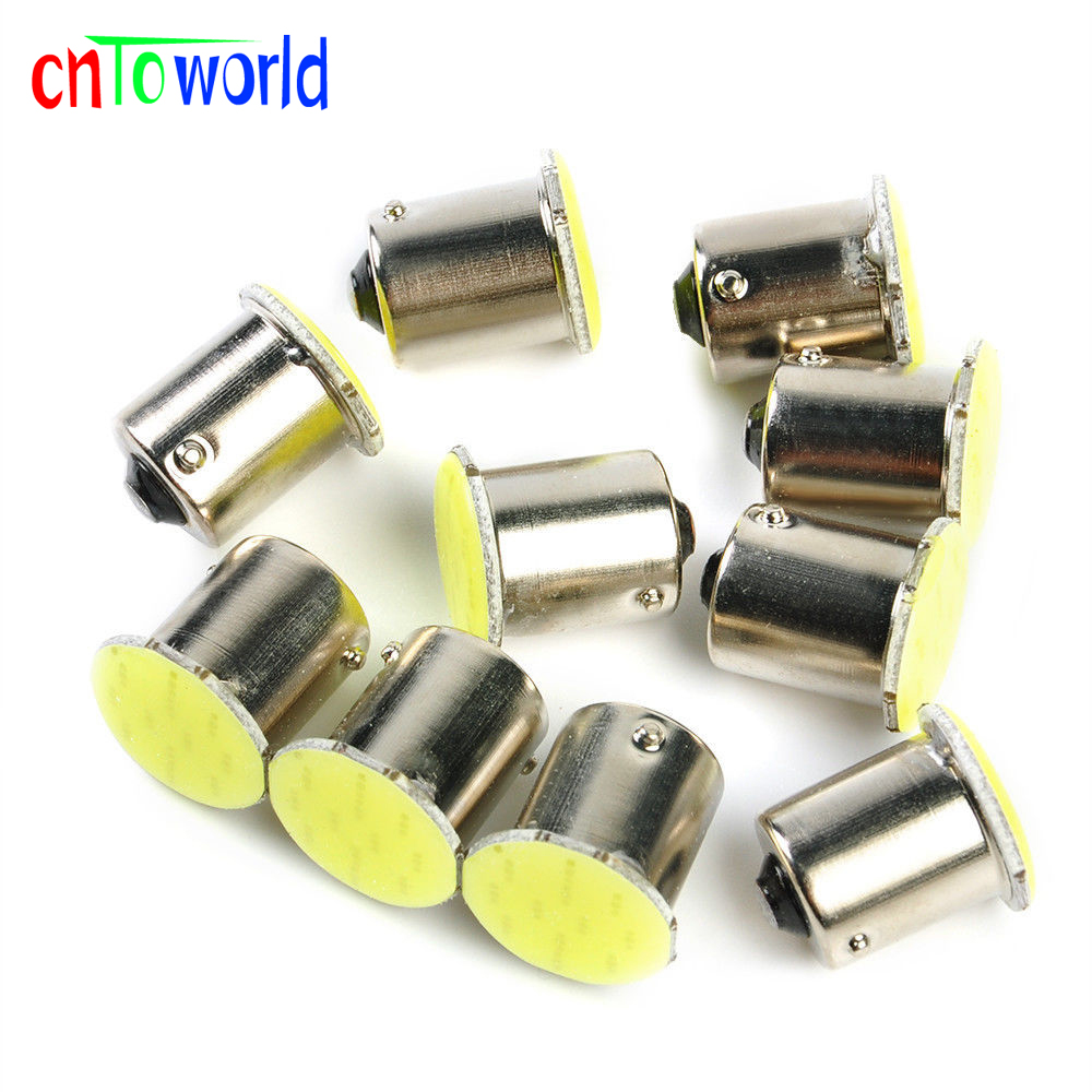 цена на 10pcs 12V 24V 1156 BA15S P21W 1157 Bay15d P21/5w 3156 3157 7440 7443 COB 12 SMD Led Light Lamp Car Turn Signal Brake Bulb White