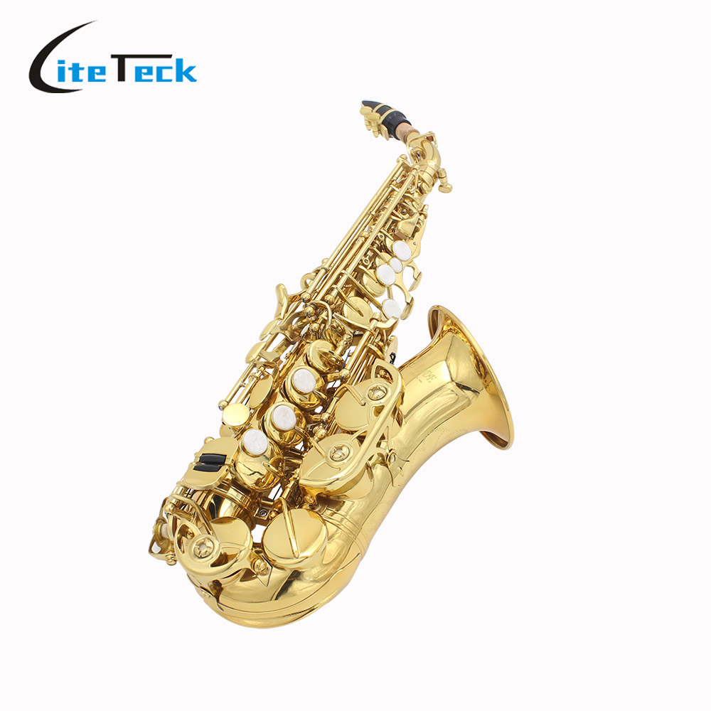 LADE Soprano Saxophone Sax Brass Bb Bend Althorn Shell Buttons Wind Instrument with Case Gloves Cleaning