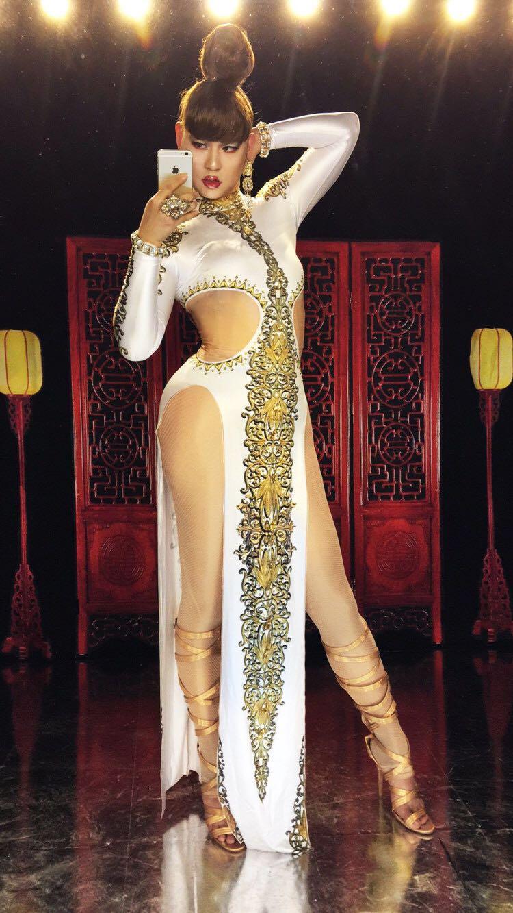 Femmes nouveau Sexy blanc longue robe Cheongsam danse porter femme chanteur Costume One-piece body discothèque Oufit robes de fête