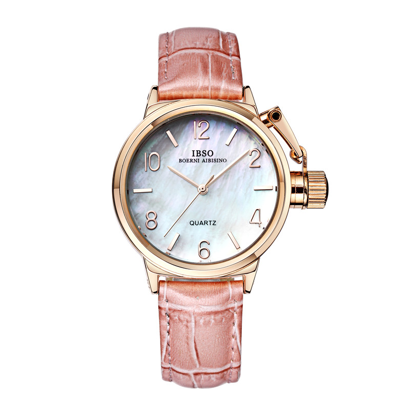 2015 Selling Brand IBSO BOERNI AIBISINO Unisex Ultra Thin Round Dial Analog Wrist Watch With Waterproof & Leather Band 8109 natate ibso women quartz watch crystal decorated large round dial analog wrist watch with waterproof woman leather band s3819