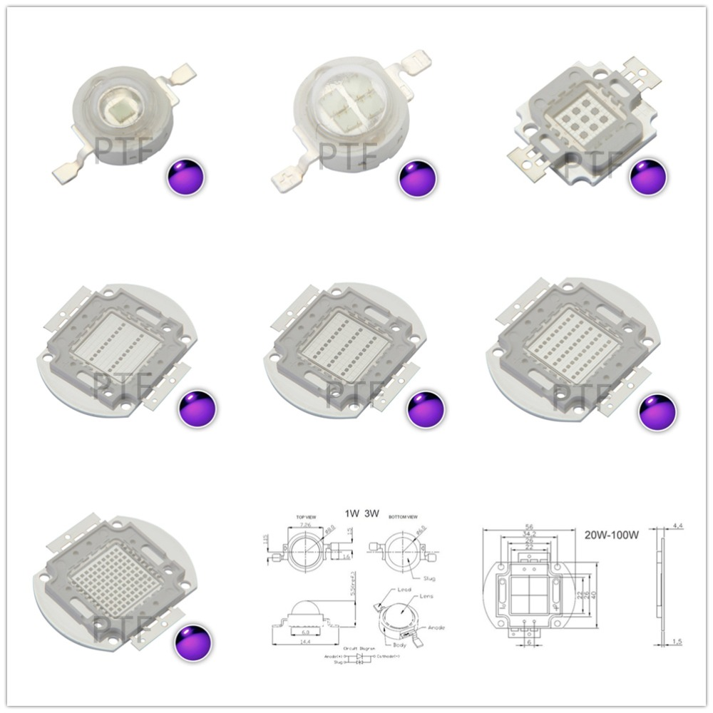 LED Ultraviolet Bulbs Lamp Chips 365nm 375nm 380nm 385nm 395nm 400nm 405nm 3W 5W 10W 20W 30W 50W 100W High Power Light the new 240 watts high power led uv violet 6565 365nm 370nm 380nm 385nm 395nm 400nm 405nm 21 5 44mm board