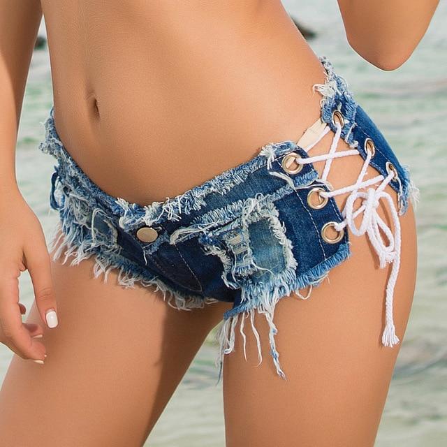 5 couleurs à lacets Sexy découpe pôle danse string Bar shorts femmes jeans denim Micro Ultra taille basse Clubwear été DK075S40