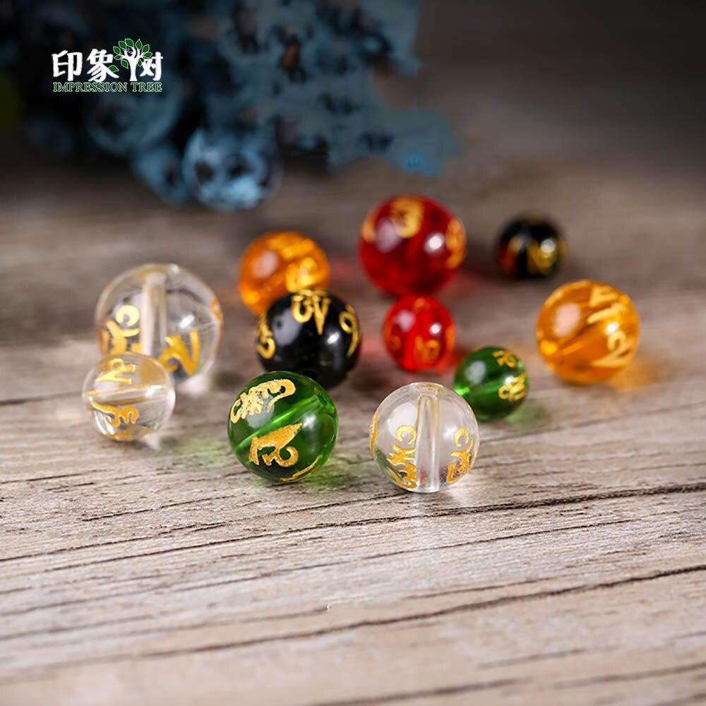 10 Stücke Glas Buddhismus Om Mani Padme Hum Mantra Bead 8/10/12/14mm Klar Schwarz Rot Grün Gelb Vergoldeten Perle Diy Schmuck Zeug 22019