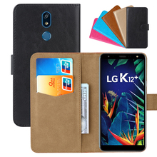 Luxury Wallet Case For LG K12+ PU Leather Retro Flip Cover Magnetic Fashion Cases Strap