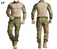Military Uniform Multicam Army Combat Shirt Uniform Tactical Pants with Knee Pads Camouflage Suit Hunting Clothes(China)