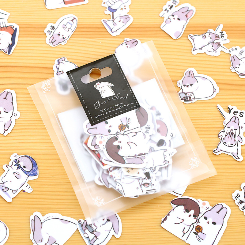 40 Pcs/lot Cute Fat Rabbit Paper Sticker Package DIY Diary Decoration Sticker Album Scrapbooking Kawaii Stationery