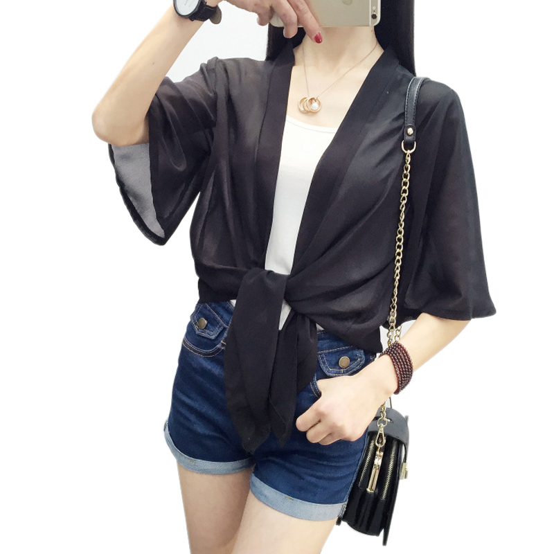 Quality In Qualified Chiffon Bow Bandage Cover Up Blouse Thin Blusa Sunscreen Cardigan Loose Casual Blusas Short Sleeve Open Stitch Shirt Tops Lady Superior