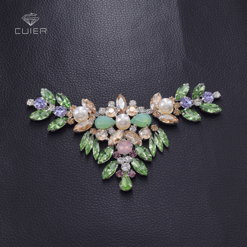 10pcs lot Opal rhinestones sewing craft patches for clothing neckline belt sew on appliques pearl handmade