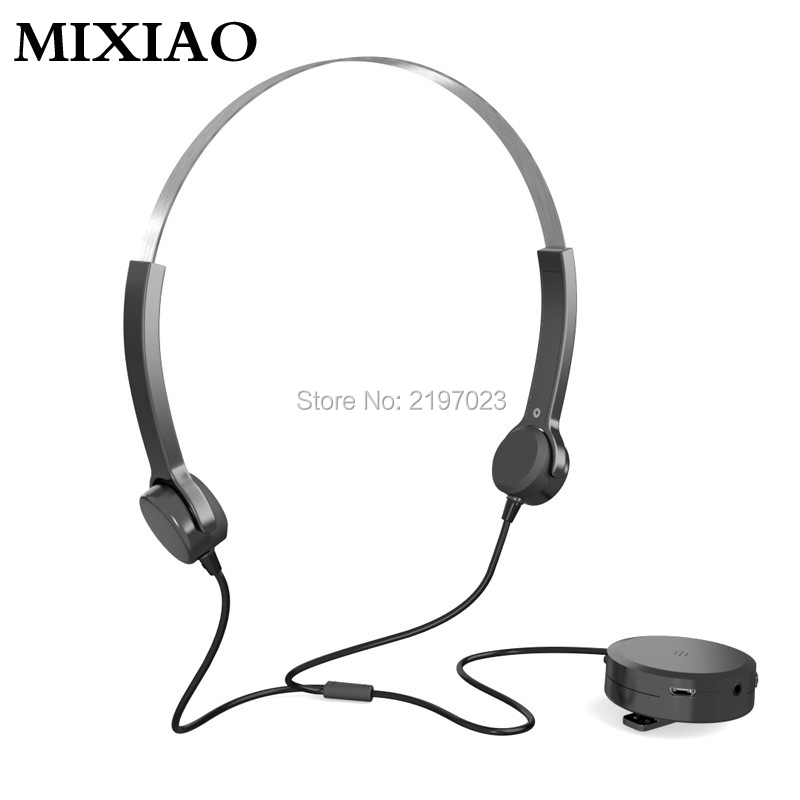 MIXIAO Bone Conduction Earphone Hearing Aids Headphones Audiphone Sound Pick-up AUX IN Black for Hearing Difficulties