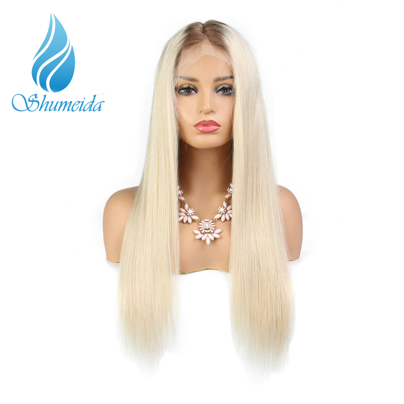 SHD 60 Color Ombre Lace Front Wigs With Baby Hair Long Silk Straight Glueless Lace Human