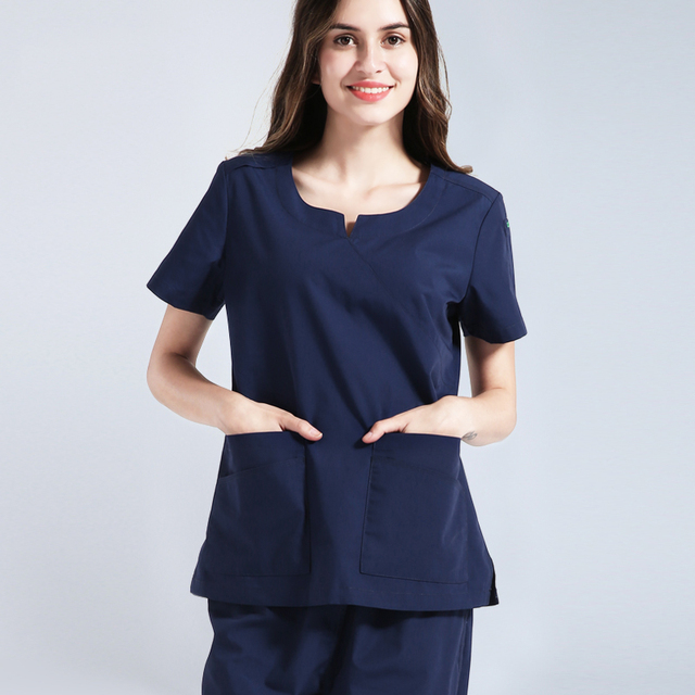 8d10efc55ab Women Nursing Scrub Uniforms Medical Scrubs Hospital Nurse Clothing Navy  Blue Solid Color Top and Pant Scrub Sets for Dentist