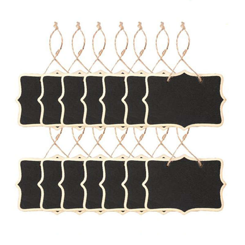 14pcs/set String Hanging Kids Wooden Chalk Board Double Sides Wood Chalkboard Signs Message Drawing Writing Party Blackboard