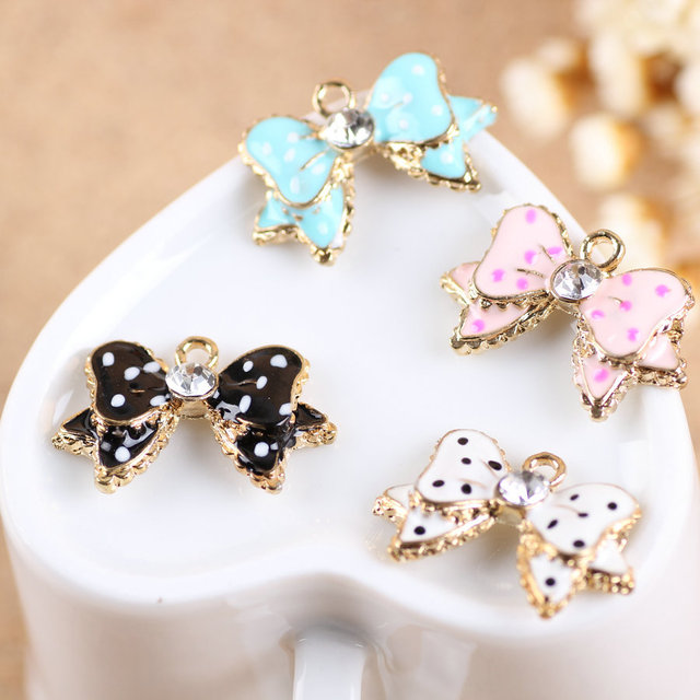 MRHUANG Drop Oil Charms 10pcs Lucky bow floating Enamel Charms Alloy Pendant fit for bracelet DIY  Fashion Jewelry Accessories