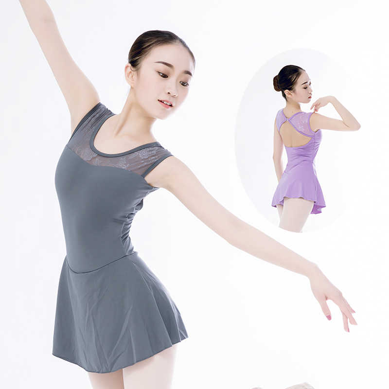 ae6852b52 Women ballet leotard ballet dress lycra dance leotard with skirt tank lace adult  dance dress ballerina