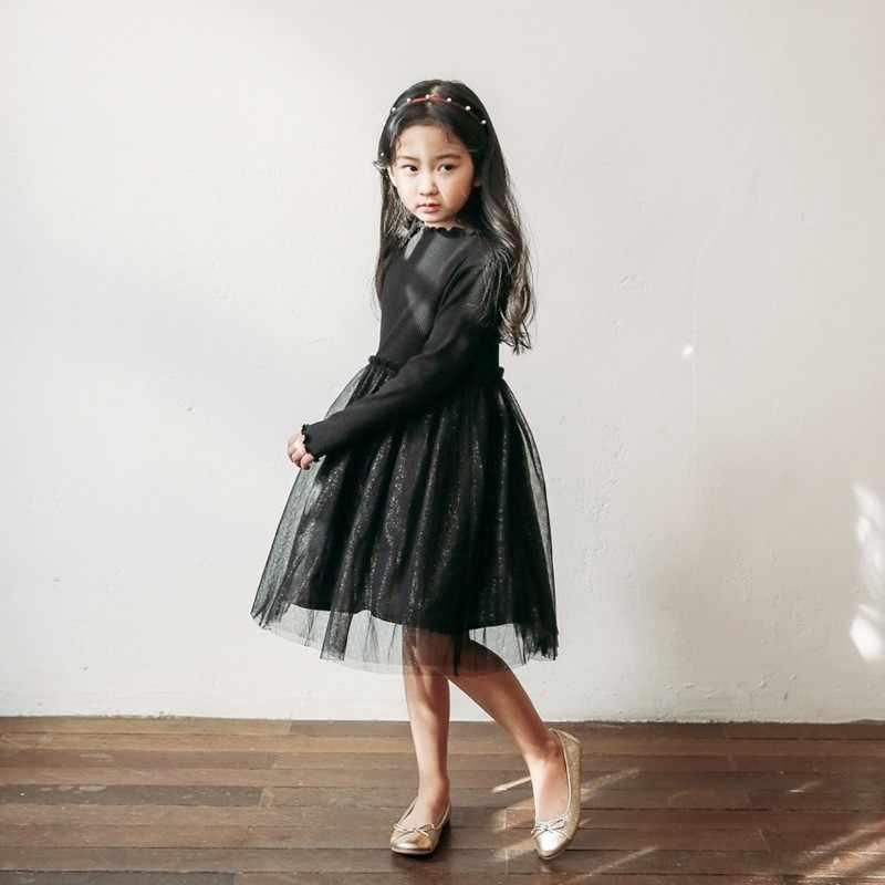 Tulle Teen Black Kids Dress Otoño Invierno 2018 Malla
