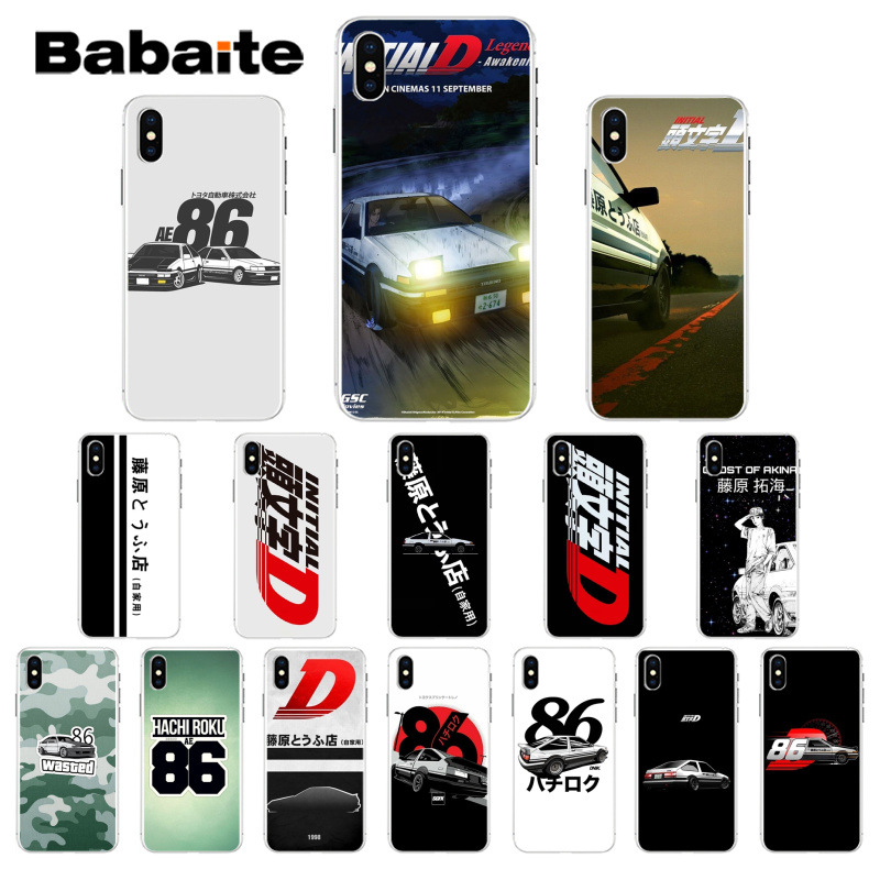 Babaite INITIAL <font><b>D</b></font> AE86 racing TPU Soft Silicone Phone Case Cover for <font><b>iPhone</b></font> 7 8 6 <font><b>6S</b></font> Plus 5 5S SE XR X XS MAX <font><b>Coque</b></font> Shell image