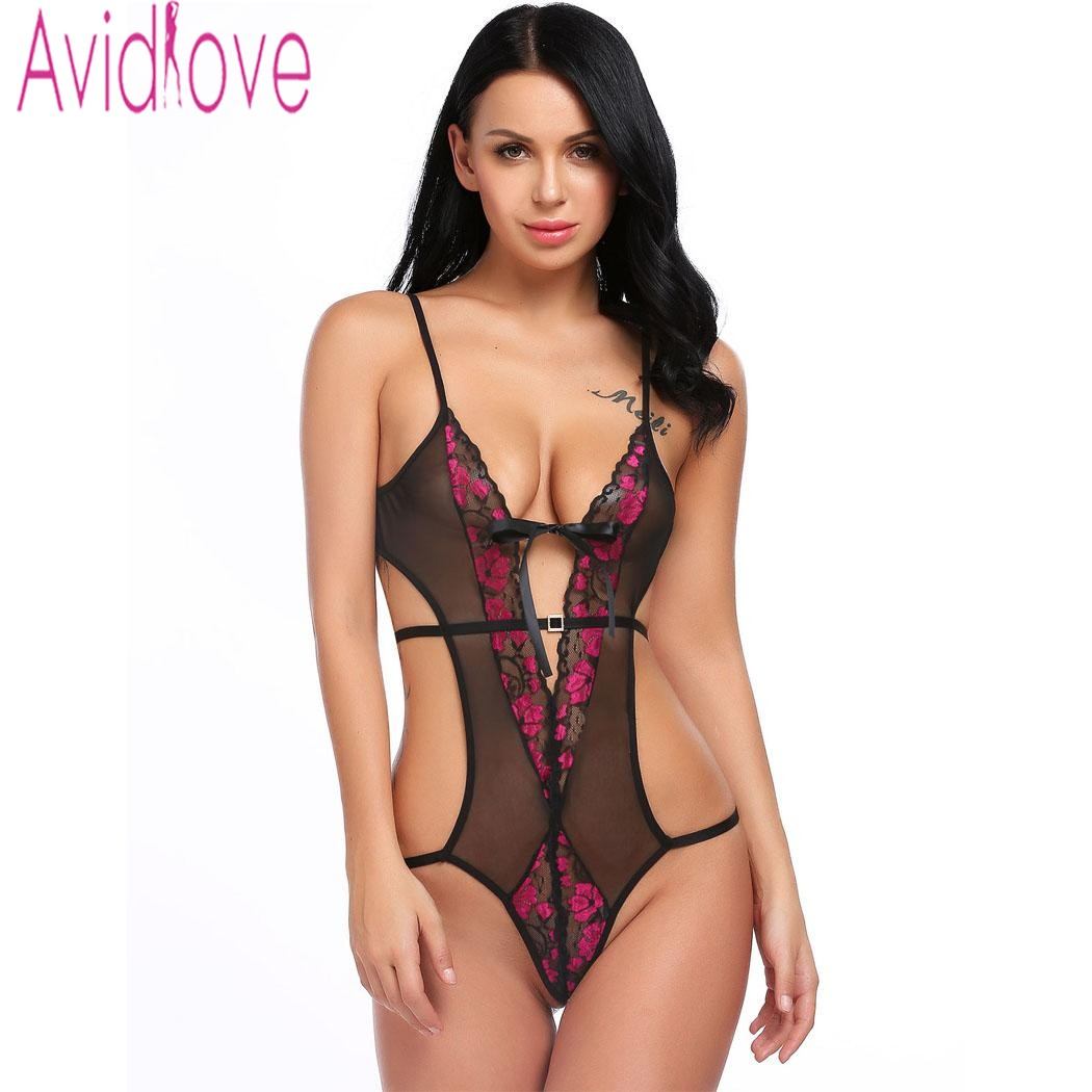 Avidlove Lingerie <font><b>Sexy</b></font> Erotic Hot Sex Nightwear Lace Mesh Body Suit Women Patchwork Backless Teddies <font><b>Bodydoll</b></font> <font><b>Sexy</b></font> Underwear image