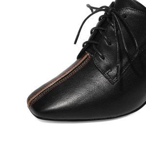 Image 3 - ALLBITEFO גדול גודל: 34 42 עור אמיתי בוהן מרובע עקבים גבוהים מסיבת נשים נעלי נשים גבוהה העקב נעלי אביב נשים עקבים