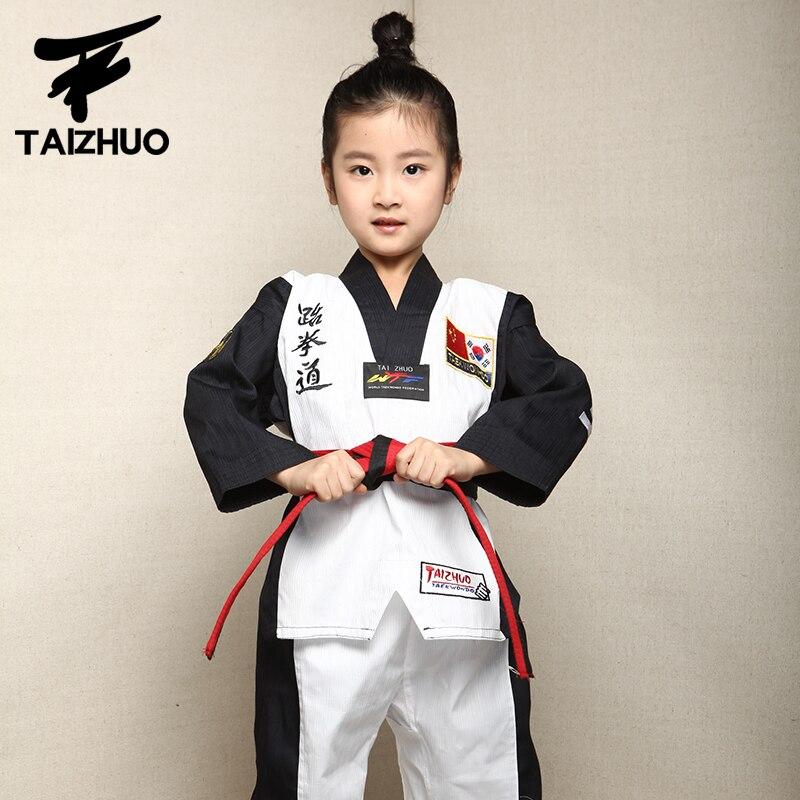 2017 children Kids Taekwondo dobok WTF Approved Taekwondo fitness training Dobok Uniforms Long Sleeve kung fu Clothes110-150cm professional wtf jc taekwondo poomsae dan dobok j calicu junior dan male