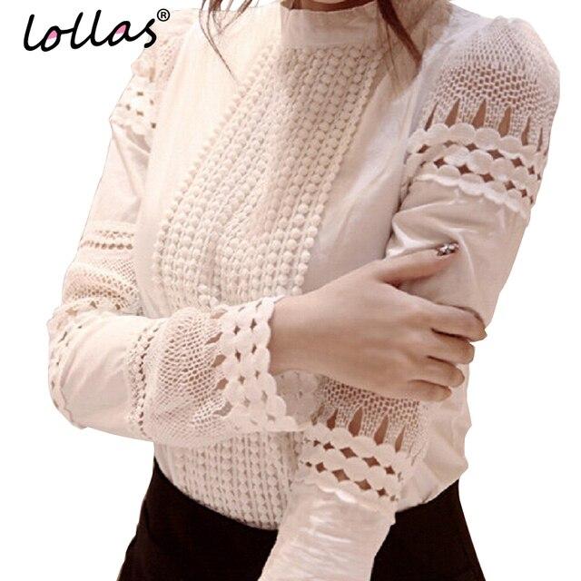 Lollas S-5XL Новая Мода Весна Осень Женщины Белое Кружево блузки Вырез Длинными рукавами Рубашки ОЛ Рабочая Одежда Женщины Блузка топы