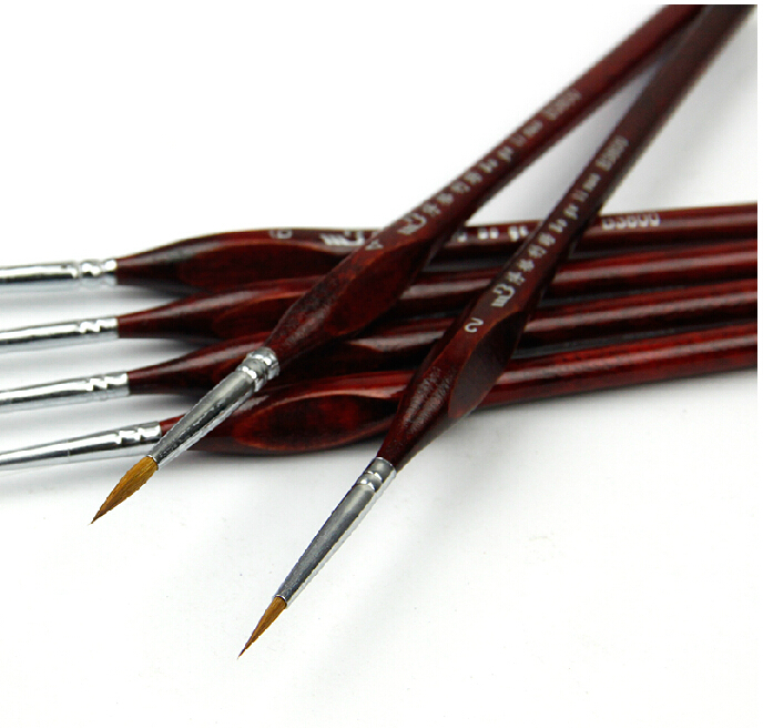 5 pcs high quality Hook wire paintbrush gouache watercolor oil painting brush art supplies dotting pen free shipping