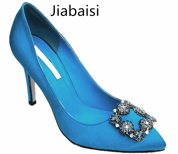 Jiabaisi shoes Women pumps brand Pointed Toe High Heel satin crystal buckle Stiletto shoes Large Size Wedding Party Basic Shoes 2017 new fashion brand spring shoes large size crystal pointed toe kid suede thick heel women pumps party sweet office lady shoe