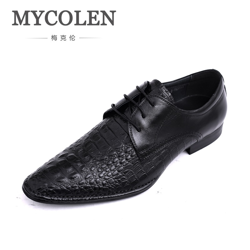 MYCOLEN Spring Fashion New Genuine Leather Men Shoes Crocodile Pattern Formal Dress Shoes For Man Carved Pointed Toe Lace Up 55 175 jtc 1731