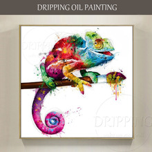 Skilled Artist Hand-painted High Quality Modern Animal Chameleon Oil Painting on Canvas Colorful Animal Chameleon Oil Painting yhhp hand painted animal canvas oil painting hair donkey